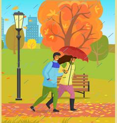 Autumn park couple happy girl and guy vector
