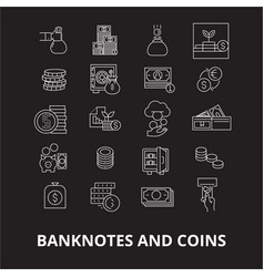 banknotes and coins editable line icons set vector image