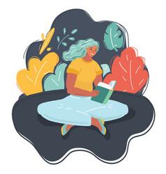 beautiful woman reading book vector image