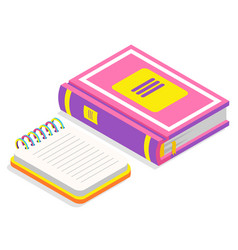 Book and notebook with spiral 3d isometric style vector
