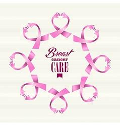 Breast cancer awareness ribbon women hands circle vector