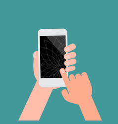 Broken smartphone with black screen and isotad vector
