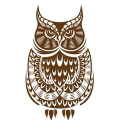 Brown owl with decorative ornament vector image