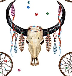 Buffalo Skull Dreamcatcher Feather pattern vector image
