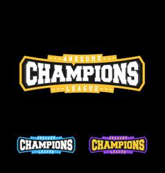 champion sports league logo emblem badge graphic vector image