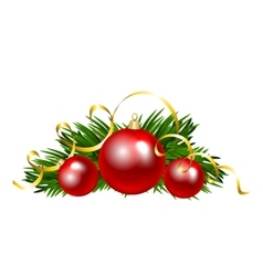 Christmas balls with fir tree branch vector image