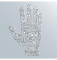 Circuit board hand vector image