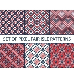 Collection of pixel retro seamless patterns vector image