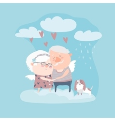 Couple of elderly angels hugging vector image