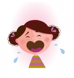 Crying baby girl vector