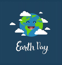 cute earth day greeting card save planet event vector image
