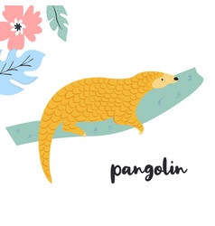 Cute pangolin on branch rare species of animals vector