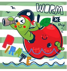 Cute pirate worm looking through binoculars vector