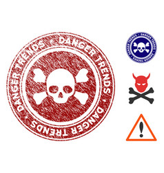 Deadly danger trends seal with distress effect vector