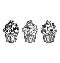 Delicious set of cakes on white background vector