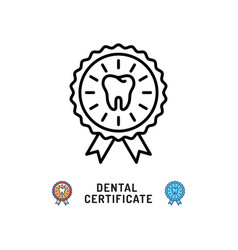 dental certificate icon dental care award symbols vector image