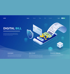 digital bill and online bank vector image
