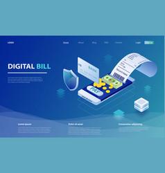 Digital bill and online bank vector