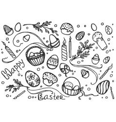 Doodle set of easter vector image