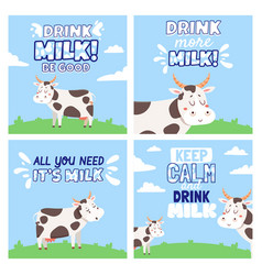 drink cow milk posters with rural landscape vector image