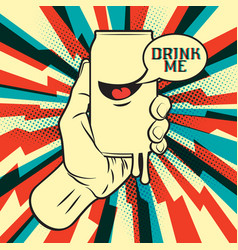 drink in hand vector image