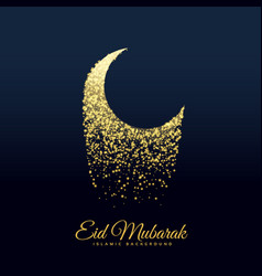 Eid festival moon made with glitters vector