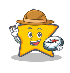 explorer star character cartoon style vector image