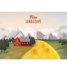 Farm landscape panorama with hay wheat field vector