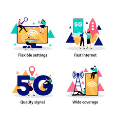 Fast 5g internet set vector