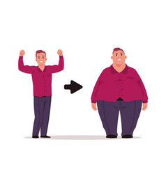 fat man slim and overweight characters before vector image