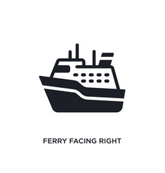 Ferry facing right isolated icon simple element vector