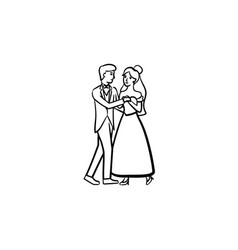 first wedding dance hand drawn sketch icon vector image