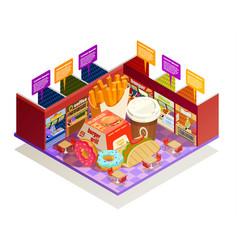 Food court interior elements isometric vector