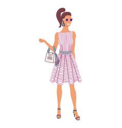 glamorous fashion lady standing on white backdrop vector image