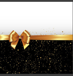 golden glitter background with gold silk bow and vector image