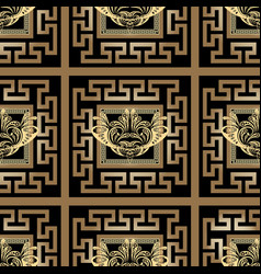 Greek gold checkered ornamental seamless pattern vector