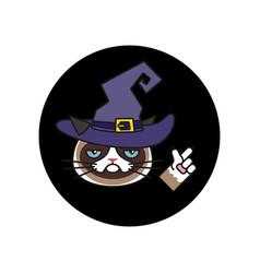 Grumpy cat in witch costume sticker halloween vector