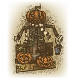 Halloween drawn by hand vector image