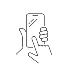 Hand holing smart phone with buy button vector