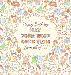 Happy birthday party invitation with hand drawn vector image