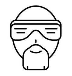 hip hop man face icon outline style vector image