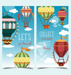 hot air montgolfier balloons in sky with clouds vector image