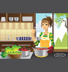 Housewife cooking vector