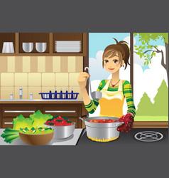 Housewife cooking vector