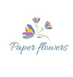 icon of color paper flowers vector image