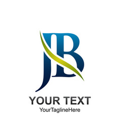 initial letter jb logo template colored green vector image
