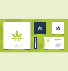 inspirational green cannabis logo and business vector image