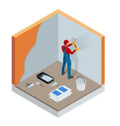 isometric plasterer renovating indoor walls vector image