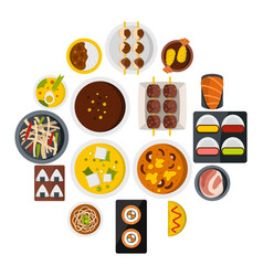 japan food icons set in flat style vector image