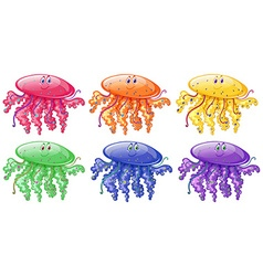 Jellyfish in six different colors vector image